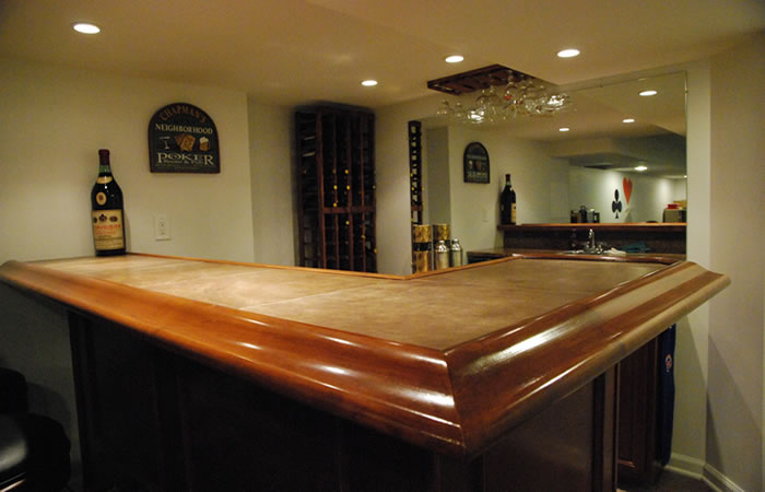 Stocking a home bar - basement home bar