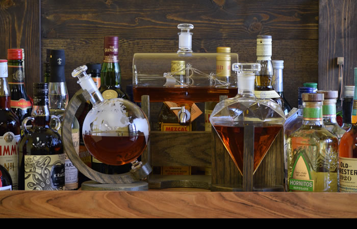 Unusual Decanter Set with Tray