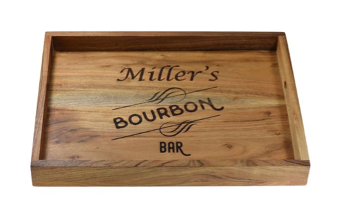 Acacia Wood Customizable Bar Tray