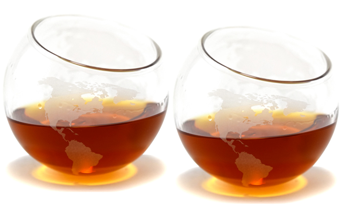 Spinning Globe Whiskey Glasses   by Prestige Decanters.