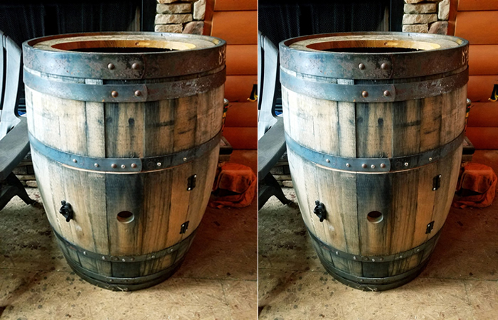 Whiskey barrel sink is going in the guest bathroom of log cabin