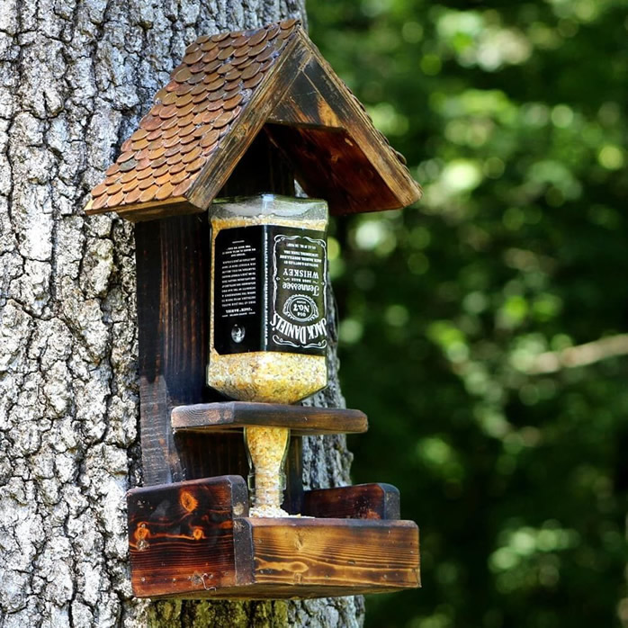 DIY Wine Bottle / Liquor Bottle - Bird-feeders