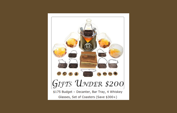 With a $175 budget you can get a nicely wrapped box of our bestselling dimond shaped Whiskey/Wine Decanter, a set of 4 Whiskey Glasses plus a bunch of other bar accessories