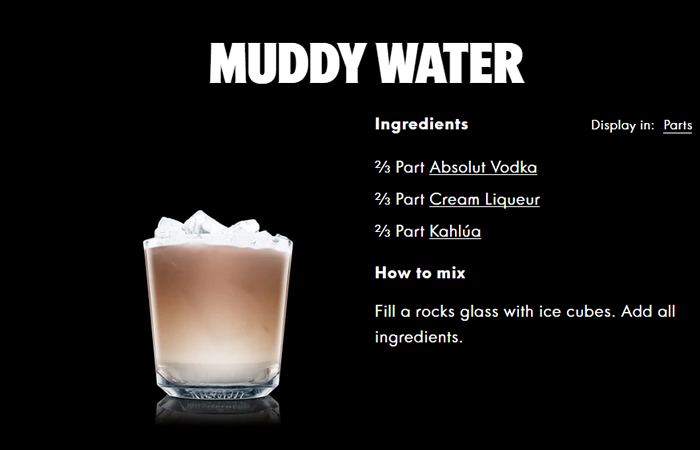 Muddy Water Kahlua Cocktails