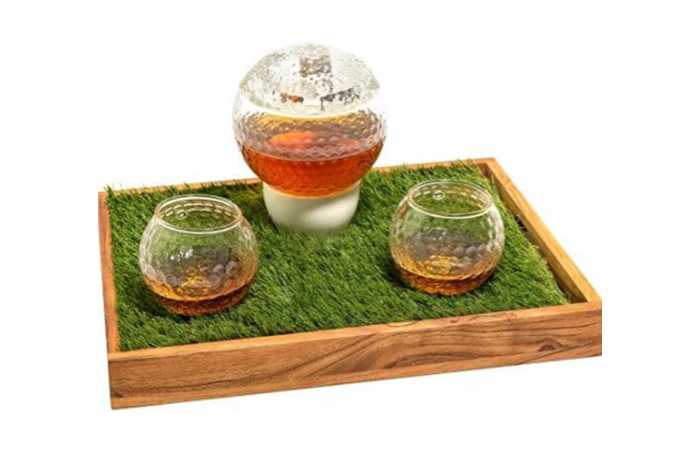 Golf ball shaped decanter set - with 2 matching whiskey glasses and personalized bar/serving tray made by Prestige