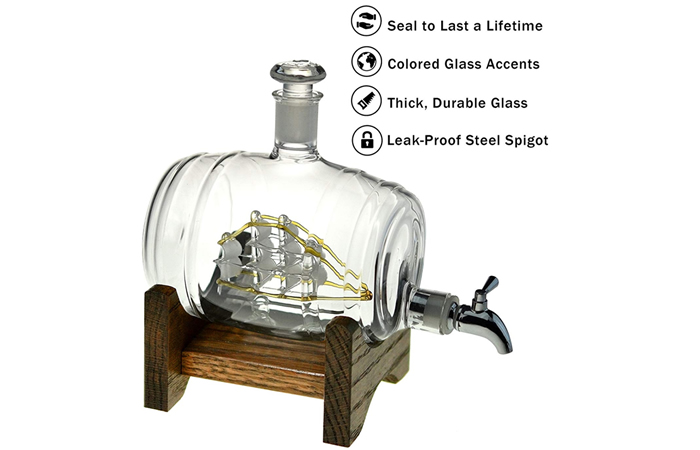 Barrel-shaped decanter - with an airtight stainless steel spigot