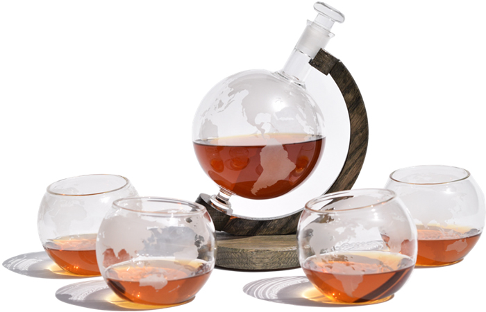 Prestige etched globe glass liquor and wine decanter set paired with 4 matching whiskey glasses