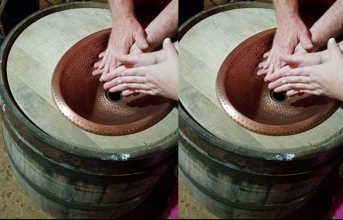 Wash Hands in Style with DIY Whiskey Barrel Sink