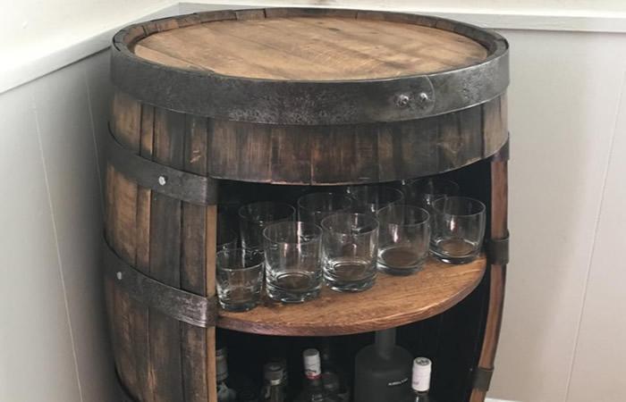 Whiskey Barrel Bar Idea