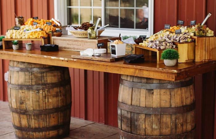 Two Whiskey Barrels Bar Idea
